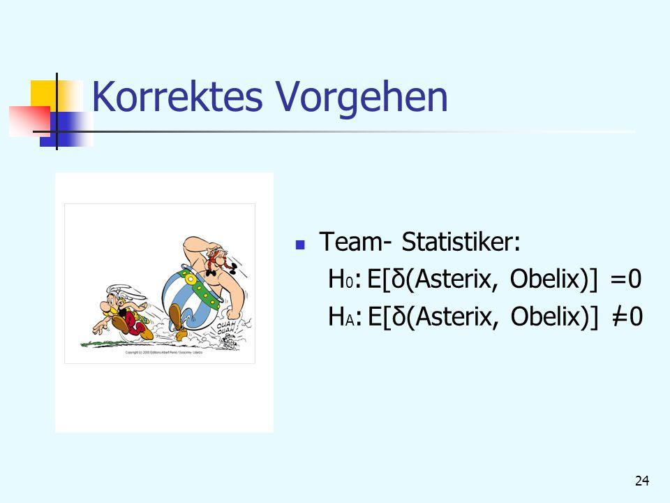 Korrektes Vorgehen Team- Statistiker: H0: E[δ(Asterix, Obelix)] =0